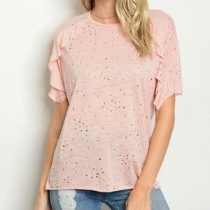 Sweet Claire Ruffle sleeve distressed Top